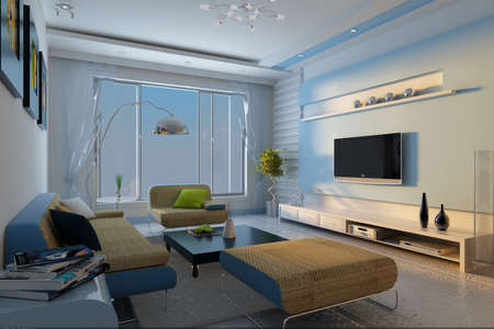 Interior fashionable living-room rendering Stock Photo - 9165260