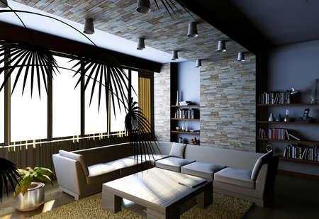 Interior fashionable living-room rendering Stock Photo - 9165262