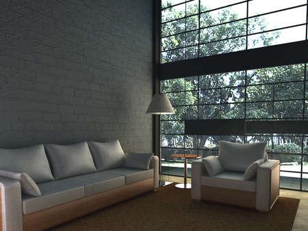 rendering living room Stock Photo - 9216475