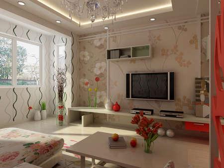 decorando: procesamiento de casa interior que se centr� en la habitaci�n  Foto de archivo