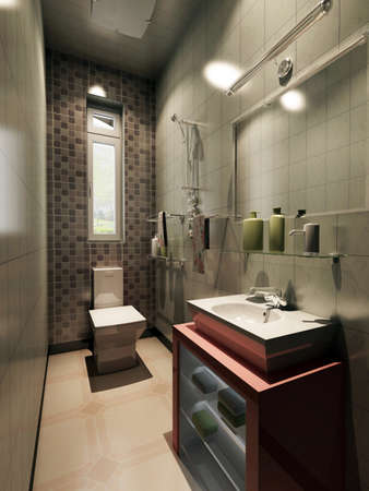 rendering of the modern bathroom inter  Stock Photo - 9238001