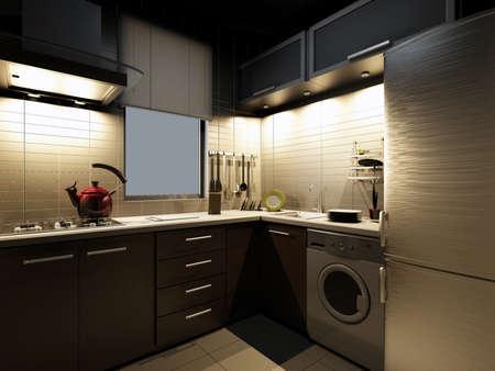 The modern kitchen interior design Stock Photo - 9238006