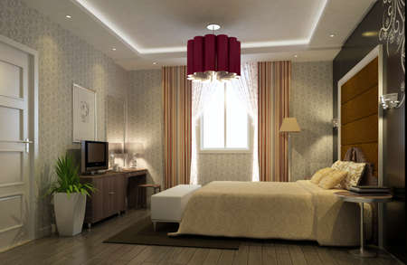 rendering of home inter focused on bed room  Stock Photo - 9237999