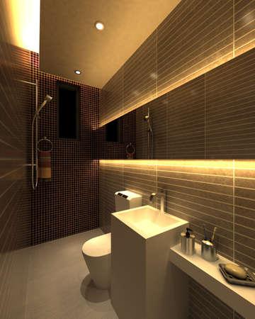 rendering of the modern bathroom interior  Stock Photo - 9238007