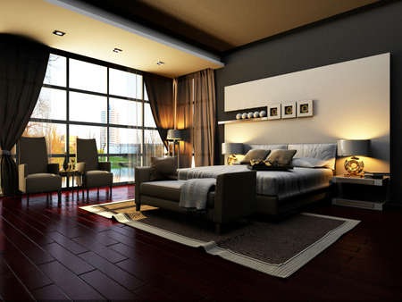 interior design living room: rendering of home interior focused on bed room  Stock Photo