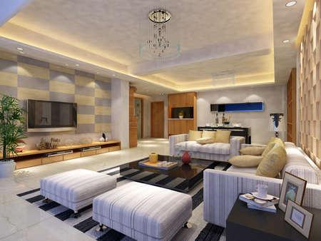 Interior fashionable living-room rendering Stock Photo - 9318417