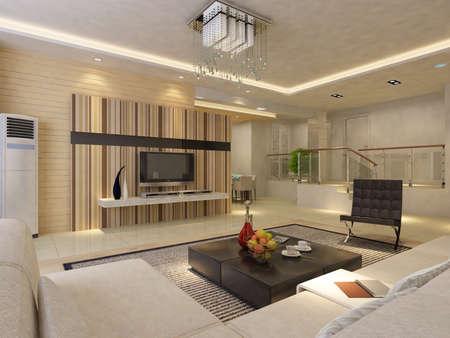 Interior fashionable living-room rendering Stock Photo - 9318422