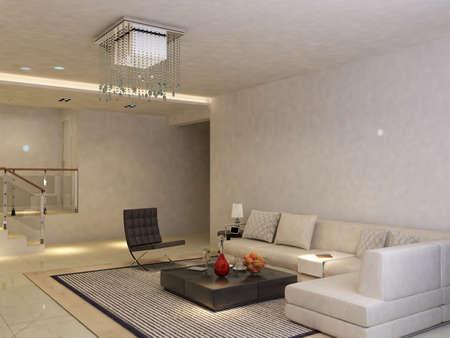Interior fashionable living-room rendering  Stock Photo