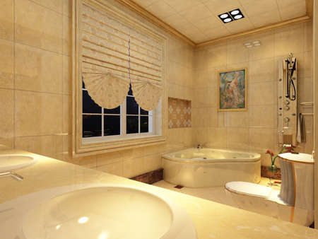 render residence: rendering of the modern bathroom interior  Stock Photo
