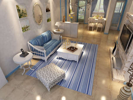 Inter fashionable living-room rendering  Stock Photo - 9310414