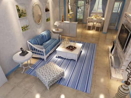 Interior fashionable living-room rendering  Stock Photo - 9310414