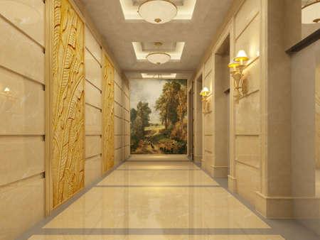Modern corridor interior image ( rendering)  photo