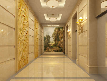 render residence: Modern corridor interior image ( rendering)