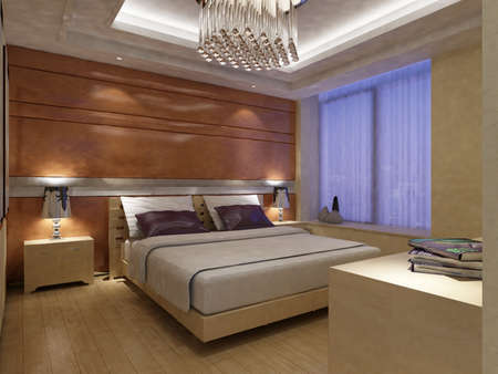rendering of home interior focused on bed room Stock Photo - 9310416