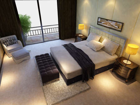 living rooms: rendering of home interior focused on bed room  Stock Photo