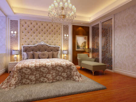 rendering of home interior focused on bed room Stock Photo - 9329748