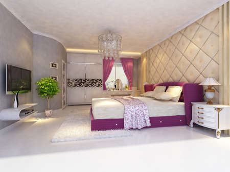 rendering of home interior focused on bed room Stock Photo - 9324212