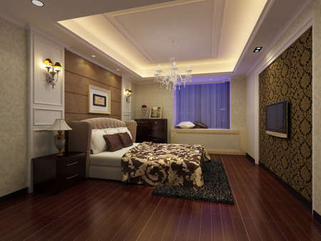 rendering of home interior focused on bed room Stock Photo - 9329741
