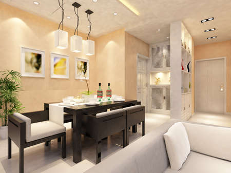 Inter fashionable living-room rendering  Stock Photo - 9353987