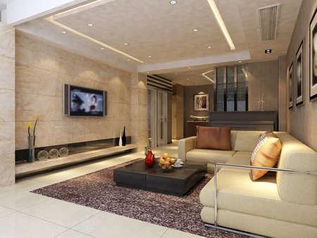 Interior fashionable living-room rendering Stock Photo - 9354013