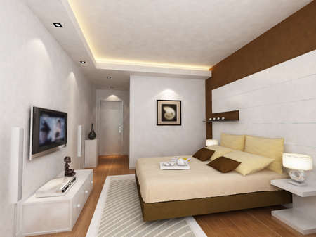 bedroom interior: rendering of home interior focused on bed room  Stock Photo