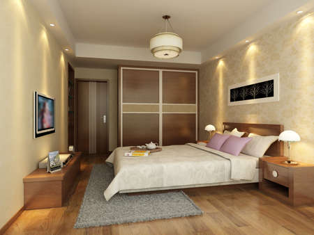 modern living room: rendering of home interior focused on bed room