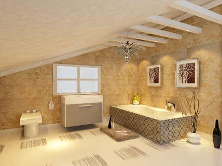 piastrelle bagno: rendering degli interni bagno moderno