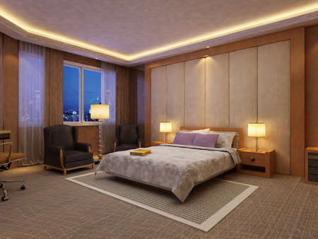rendering of home interior focused on bed room Stock Photo - 9376700
