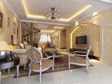 Interior fashionable living-room rendering Stock Photo - 9376787