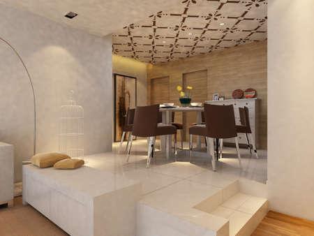 Interior fashionable living-room rendering Stock Photo - 9376662