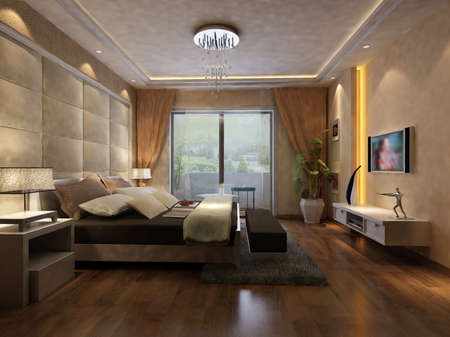 rendering of home interior focused on bed room Stock Photo - 9376675