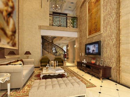 desk tidy: Interior fashionable living-room rendering  Stock Photo