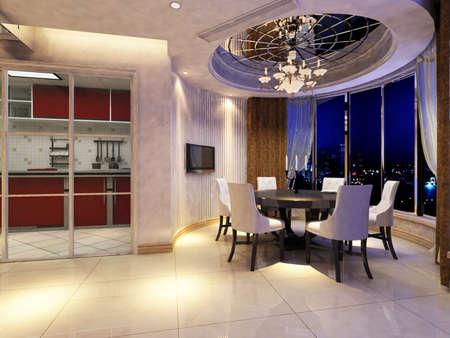 Interior fashionable living-room rendering Stock Photo - 9382599