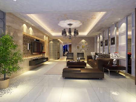 Interior fashionable living-room rendering Stock Photo - 9382601