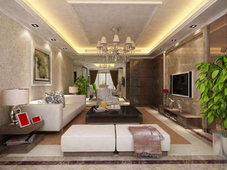 Interior fashionable living-room rendering Stock Photo - 9501497