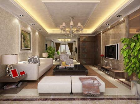 Interior fashionable living-room rendering Stock Photo - 9501497