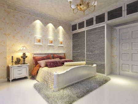 rendering of home interior focused on bed room Stock Photo - 9501502