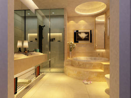 salle de bains: rendu de l'Int�rieur salle de bains moderne