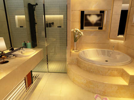 bathroom interior: rendering of the modern bathroom interior  Stock Photo
