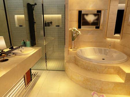 moderne: rendu de l'int�rieur salle de bains moderne Banque d'images