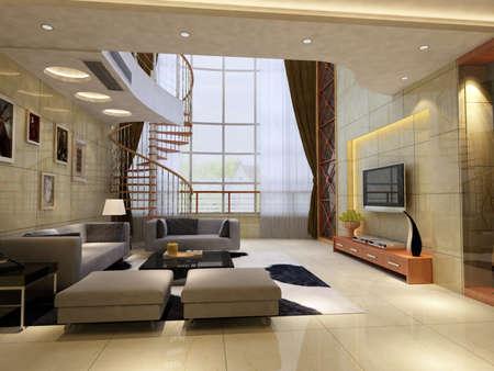 Interior fashionable living-room rendering  Stock Photo - 9534934