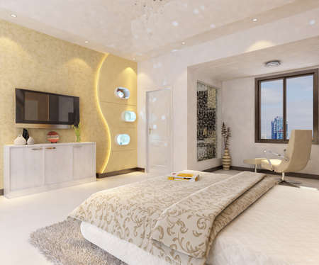 rendering of home interior focused on bed room  Stock Photo - 9642344