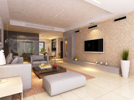 Interior fashionable living-room rendering Stock Photo - 9501456