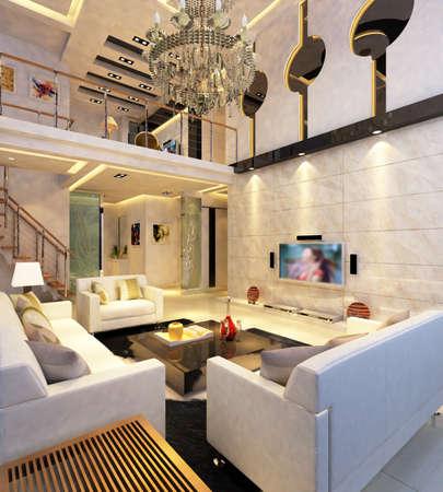 Interior fashionable living-room rendering Stock Photo - 9501464