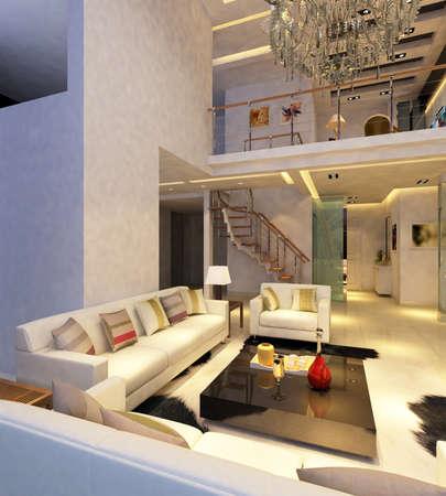 Interior fashionable living-room rendering Stock Photo - 9501486