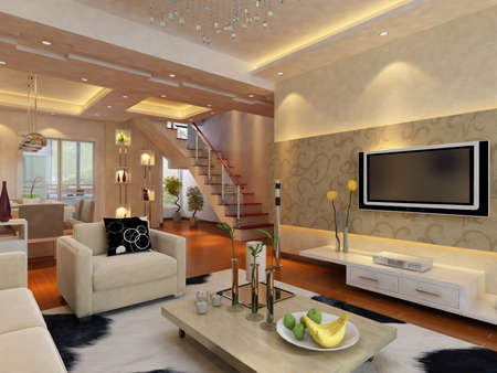 Inter fashionable living-room rendering  Stock Photo - 9535084