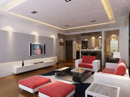 Interior fashionable living-room rendering Stock Photo - 9535040