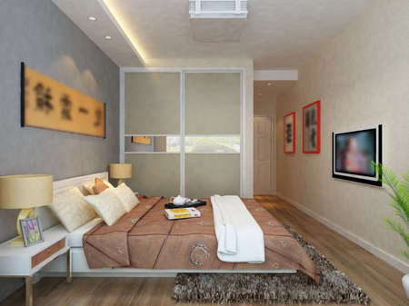 rendering of home interior focused on bed room  Stock Photo - 9535080
