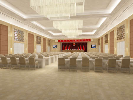 the computer generated image of the modern conference hall  photo