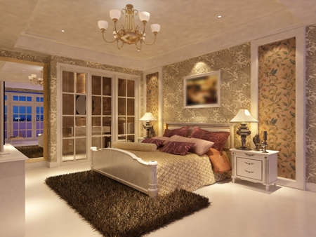 rendering of home inter focused on bed room Stock Photo - 9535089